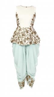 White Peplum Top with Mint Patiala Pants