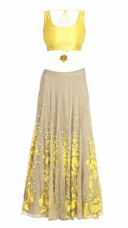 Beige and Yellow Lehenga