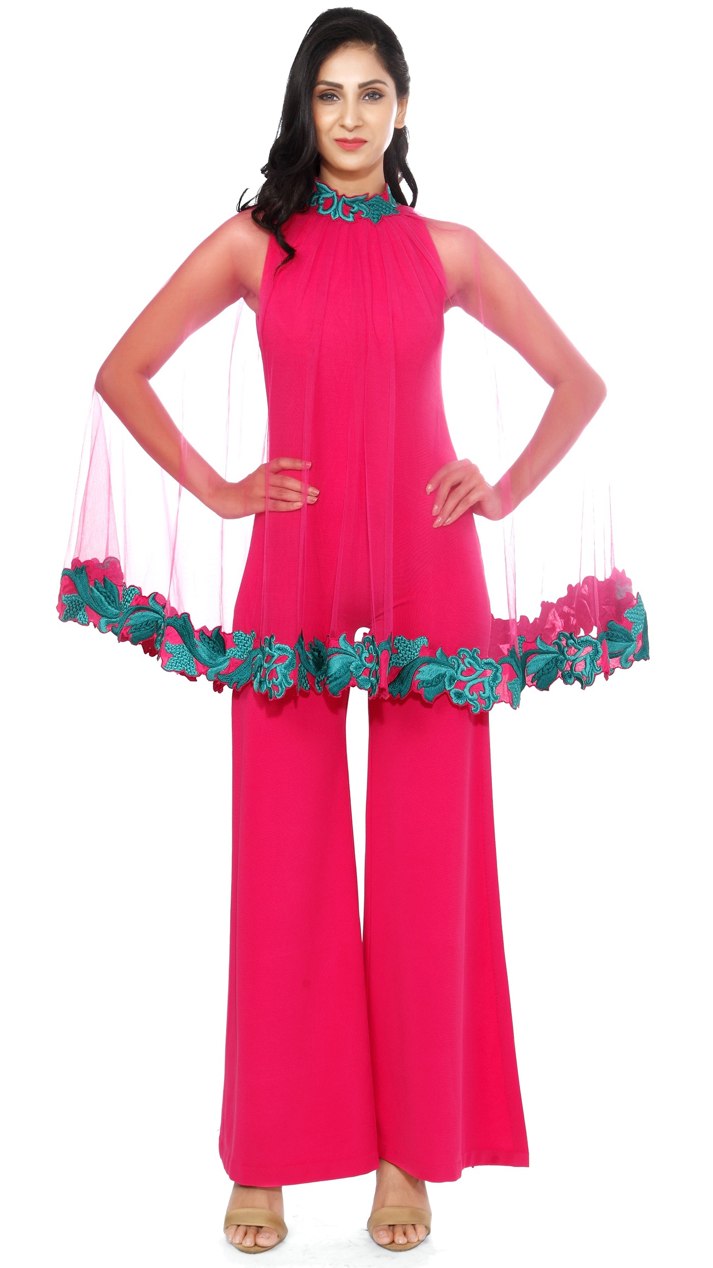 5a08e04b7375 Mayyur Girotra s Hot Pink Jumpsuit and Cape